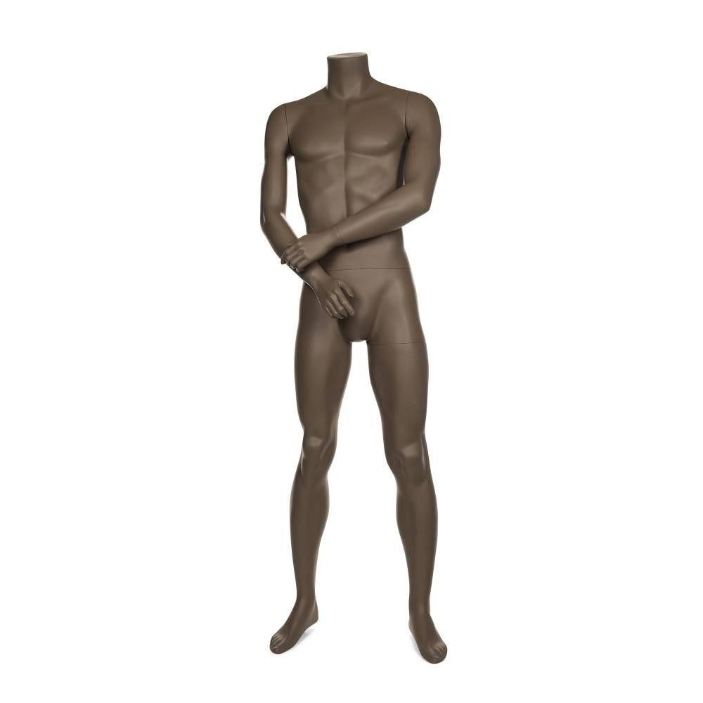 Mannequin homme sans tête coloris beige gris avec socle et fixations (photo)