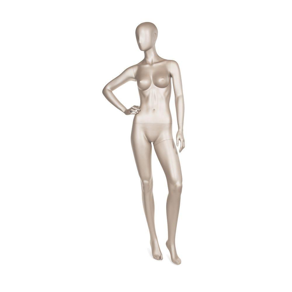 Mannequin femme qualité frp en coloris bronze métallique mat (photo)