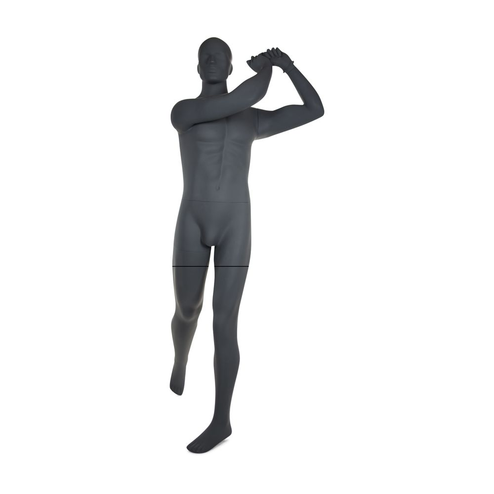 Mannequin de sport homme - golf fin de swing - qualité frp gris graphite (photo)
