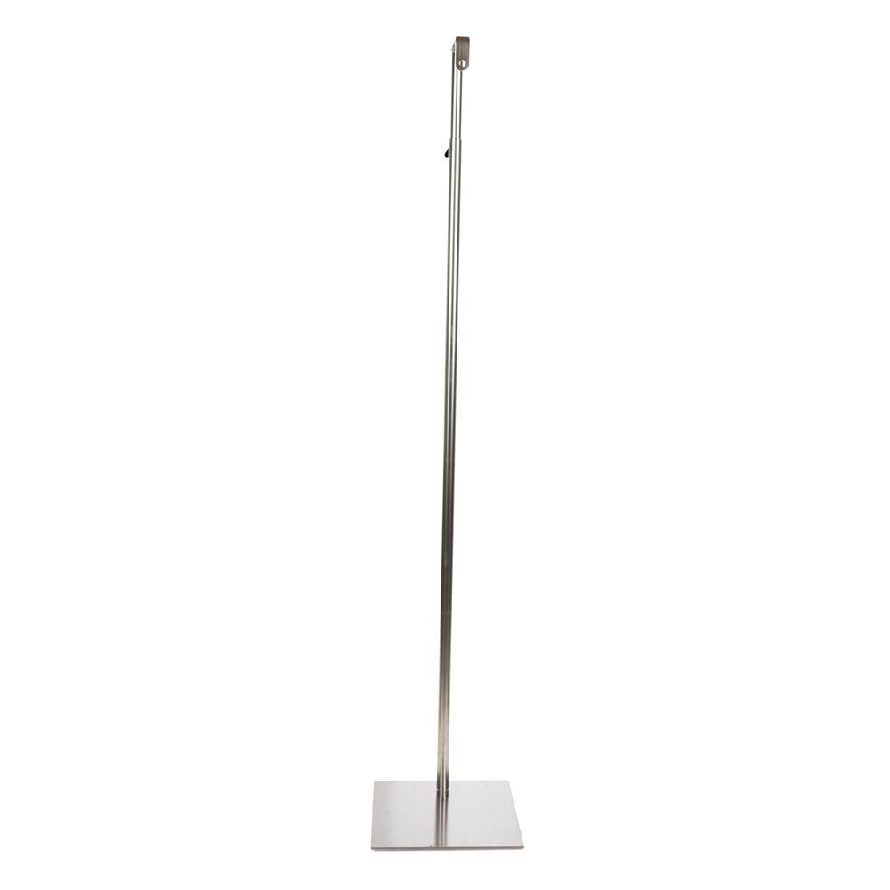 Pied rectangulaire pour buste fixation cou centre haut. 140-190 cm acier brossé