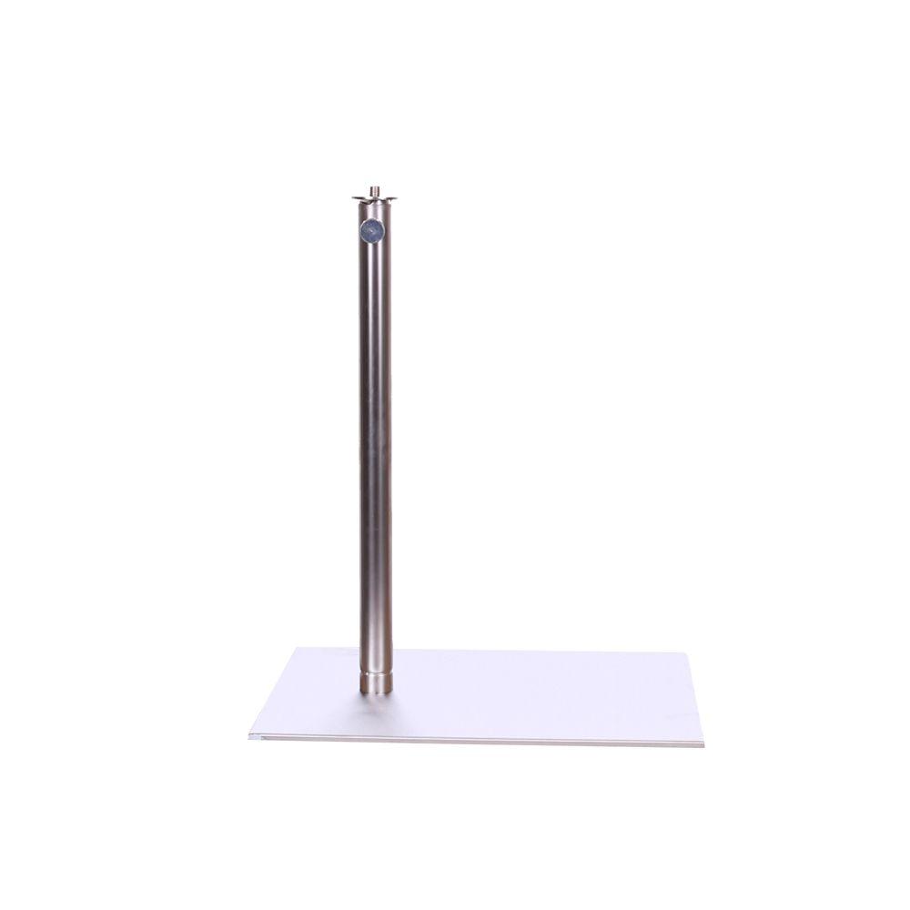 Pied rectangulaire pour buste fixation jambe centre haut. 40-75 cm acier brossé