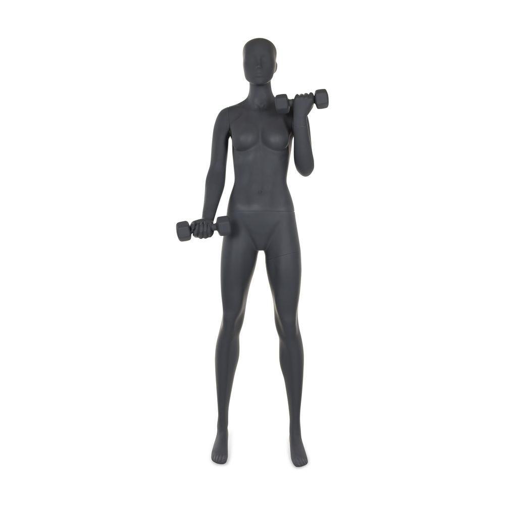 Mannequin femme tête abstraite avec haltère gris graphite + socle (photo)