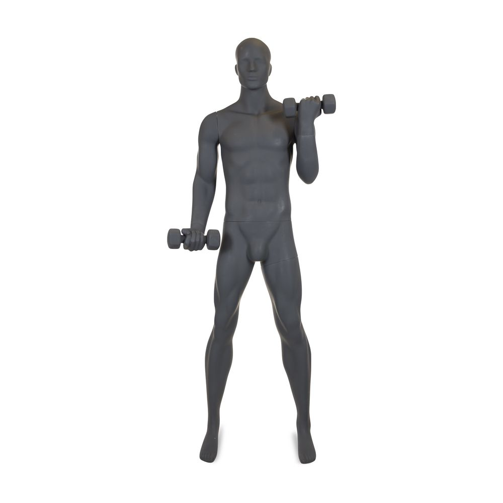 Mannequin homme musculation n°1 tête abstraite gris graphite ral 7024 + socle (photo)