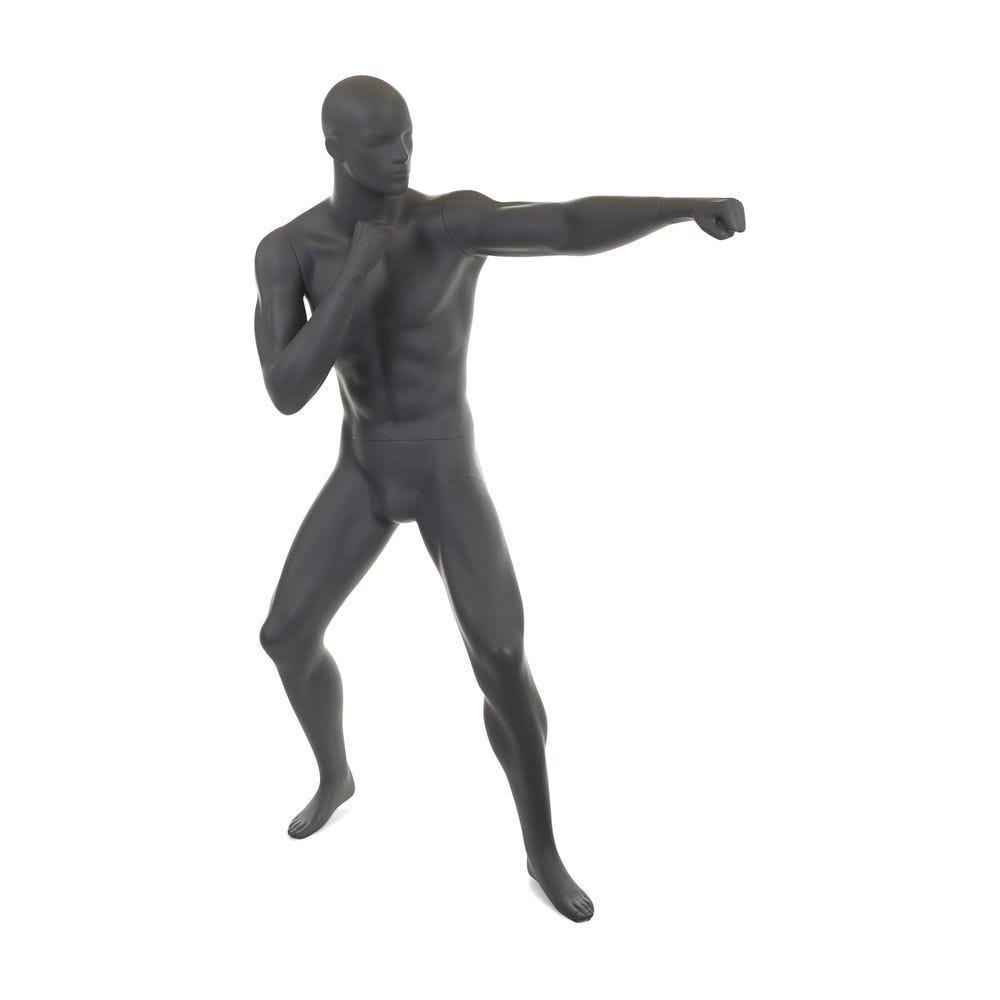 Mannequin homme boxe n°2 tête abstraite couleur gris graphite ral 7024 + socle (photo)