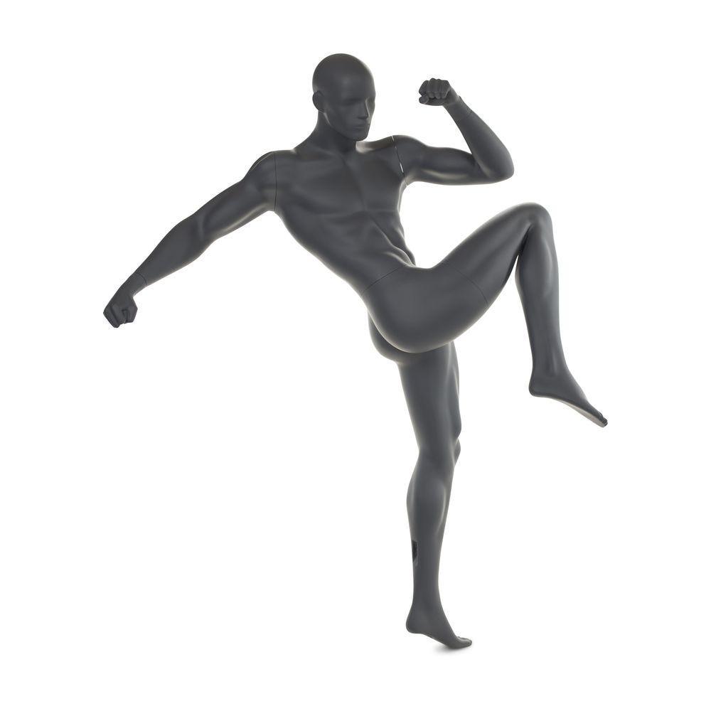 Mannequin homme boxe n°3 tête abstraite couleur gris graphite ral 7024 + socle (photo)