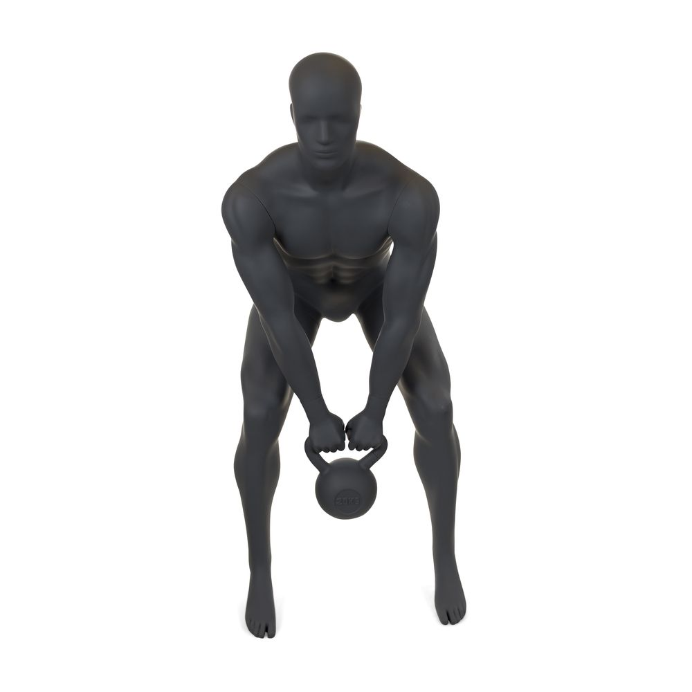 Mannequin homme musculation n°2 tête abstraite gris graphite ral 7024 + socle (photo)