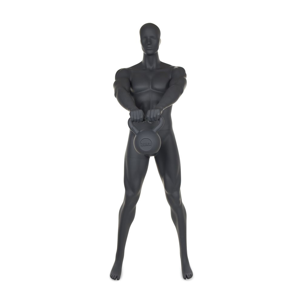 Mannequin homme musculation n°3 tête abstraite gris graphite ral 7024 + socle (photo)