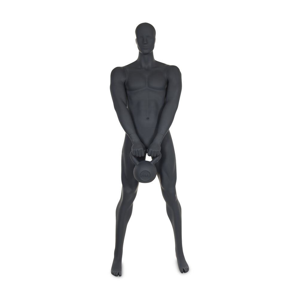 Mannequin homme musculation n°4 tête abstraite gris graphite ral 7024 + socle (photo)