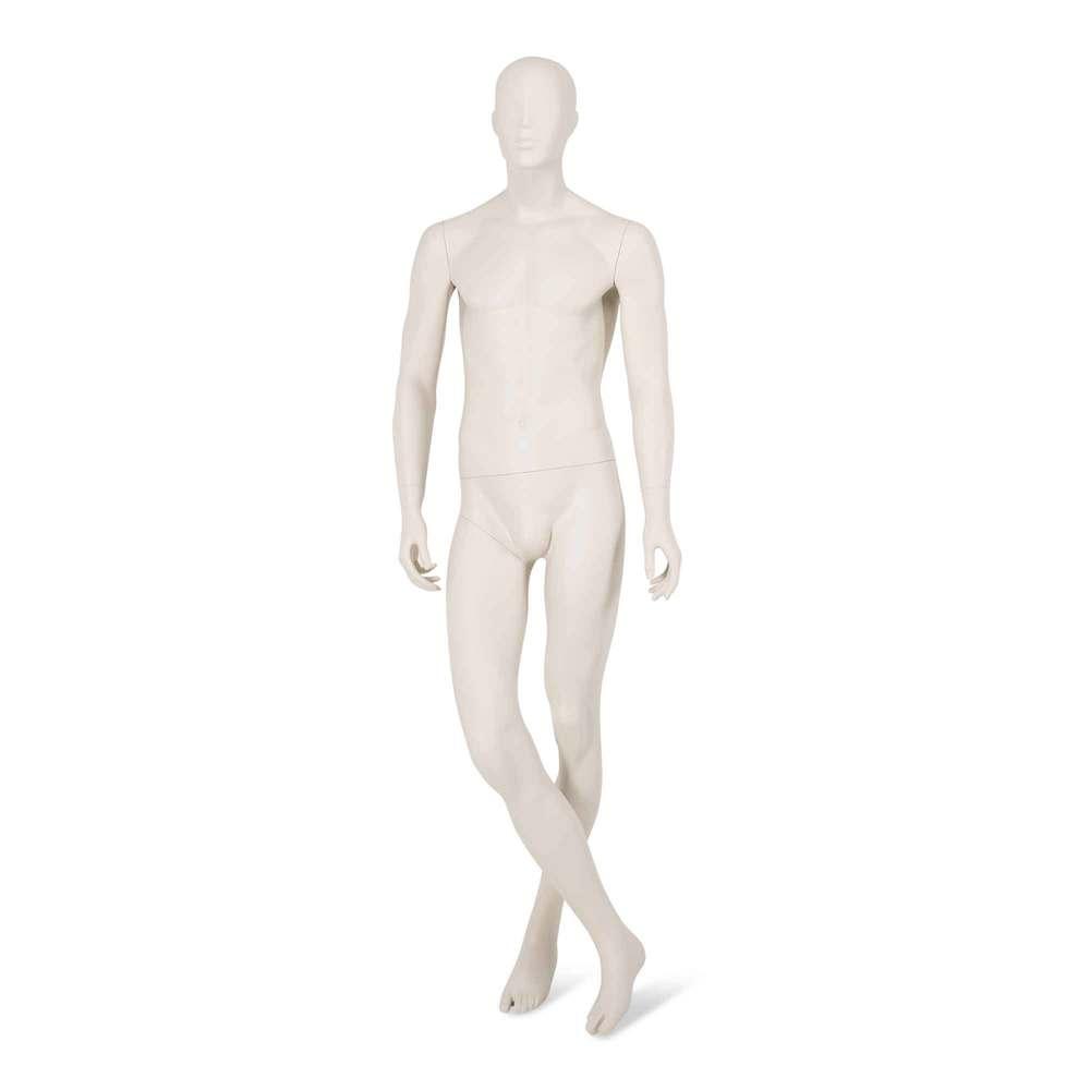 Mannequin homme tête abstraite stylisée blanc gris mat + socle & tige (photo)