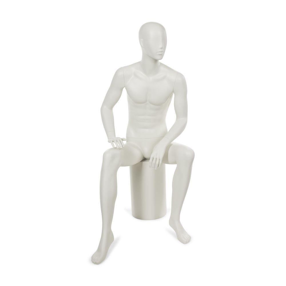Mannequin homme tête abstraite stylisée blanc gris mat - socle et tige (photo)