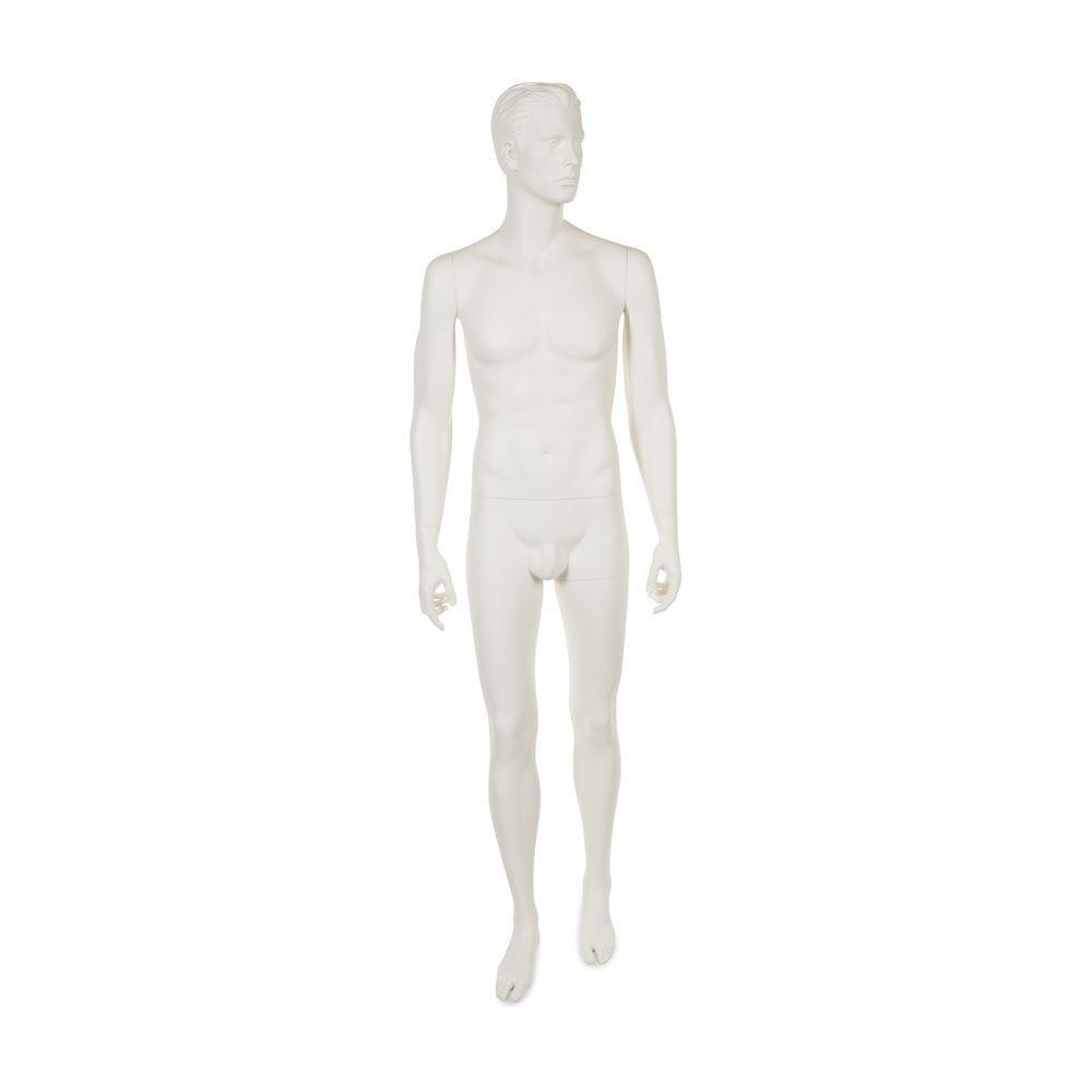 Mannequin homme cheveux sculptés coloris blanc lait mat inclus socle (photo)