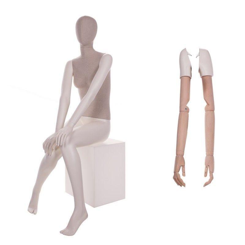 Mannequin femme abstrait assise torse tissu jambes - 2 paires de bras différents (photo)