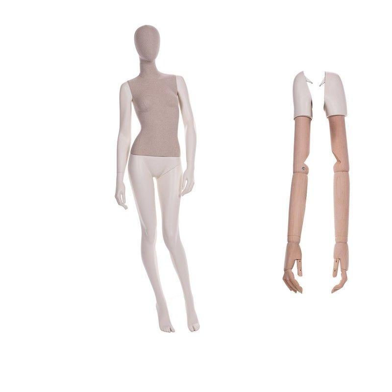 Mannequin femme abstrait torse tissu jambes n°1 - 2 paires de bras différents (photo)
