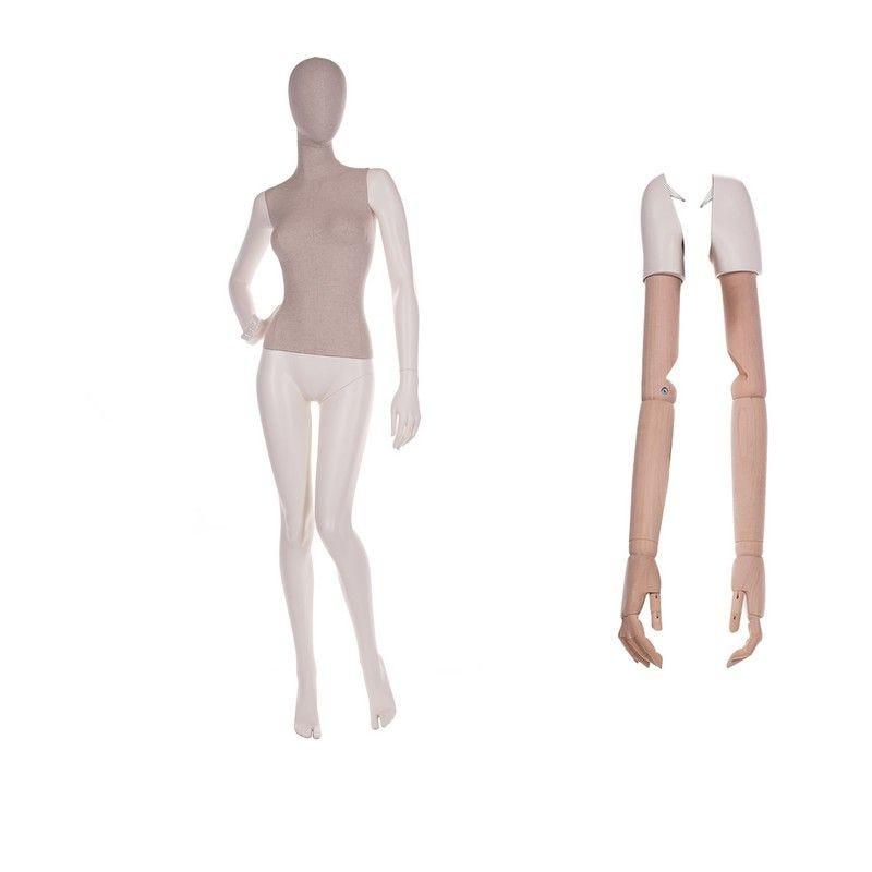 Mannequin femme abstrait torse tissu jambes n°2 - 2 paires de bras différents (photo)