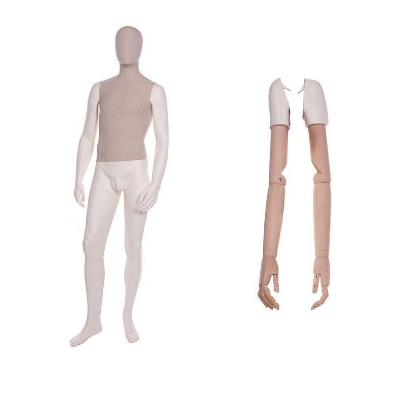 Mannequin homme abstrait torse tissu jambes n°1 - 2 paires de bras différents (photo)