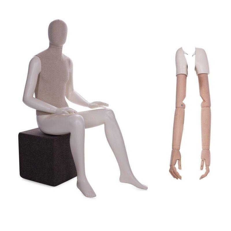Mannequin homme abstrait assis torse tissu jambes - 2 paires de bras différents (photo)