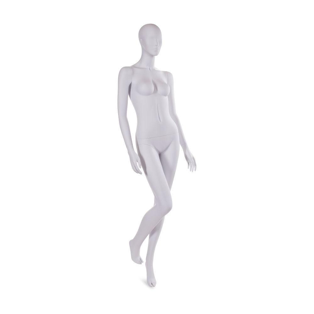 Mannequin femme tête abstraite gris clair mat inclus socle et tige (photo)