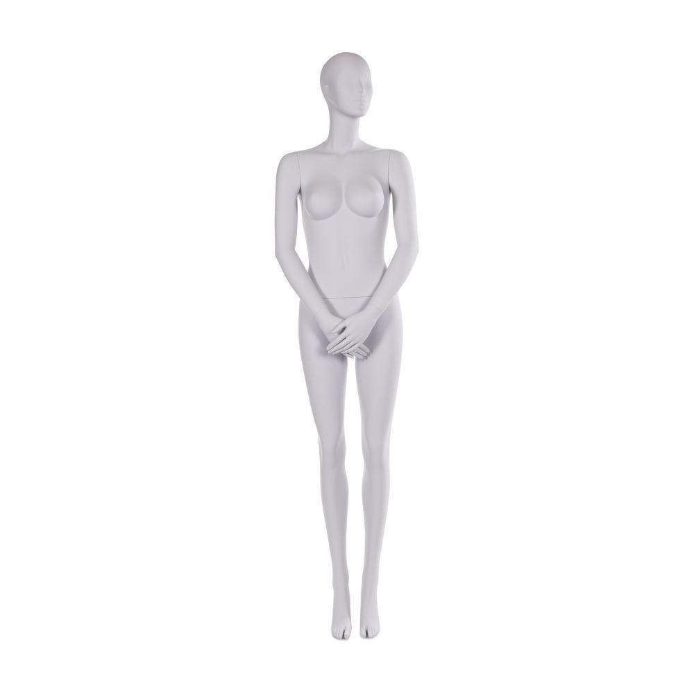 Mannequin femme tête abstraite couleur gris clair mat inclus socle et tige (photo)