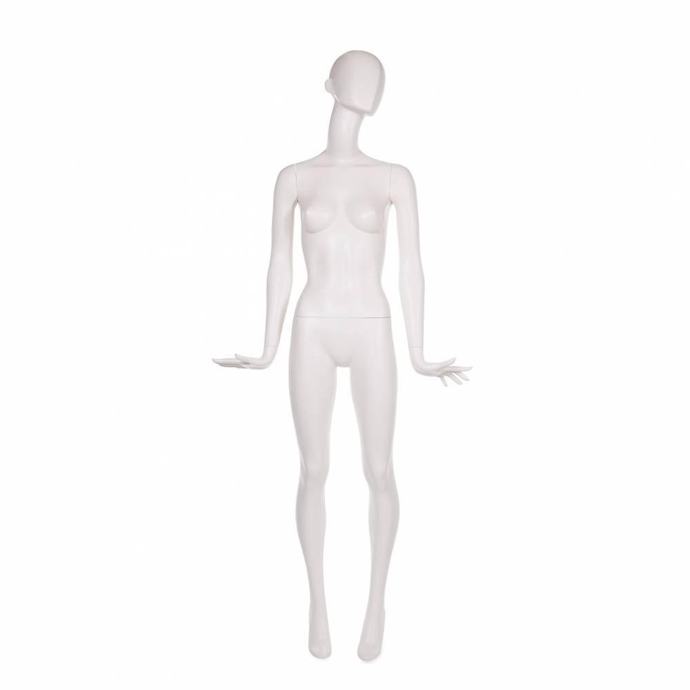 Mannequin femme abstrait coloris blanc lait mat inclus socle et tige (photo)
