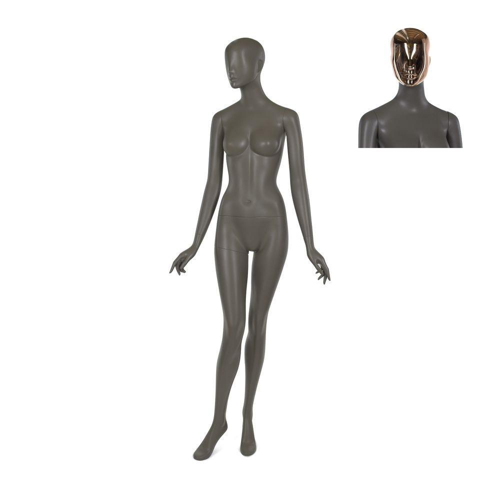 Mannequin femme, résine polyester, café doré mat, incl. 2 masques (photo)