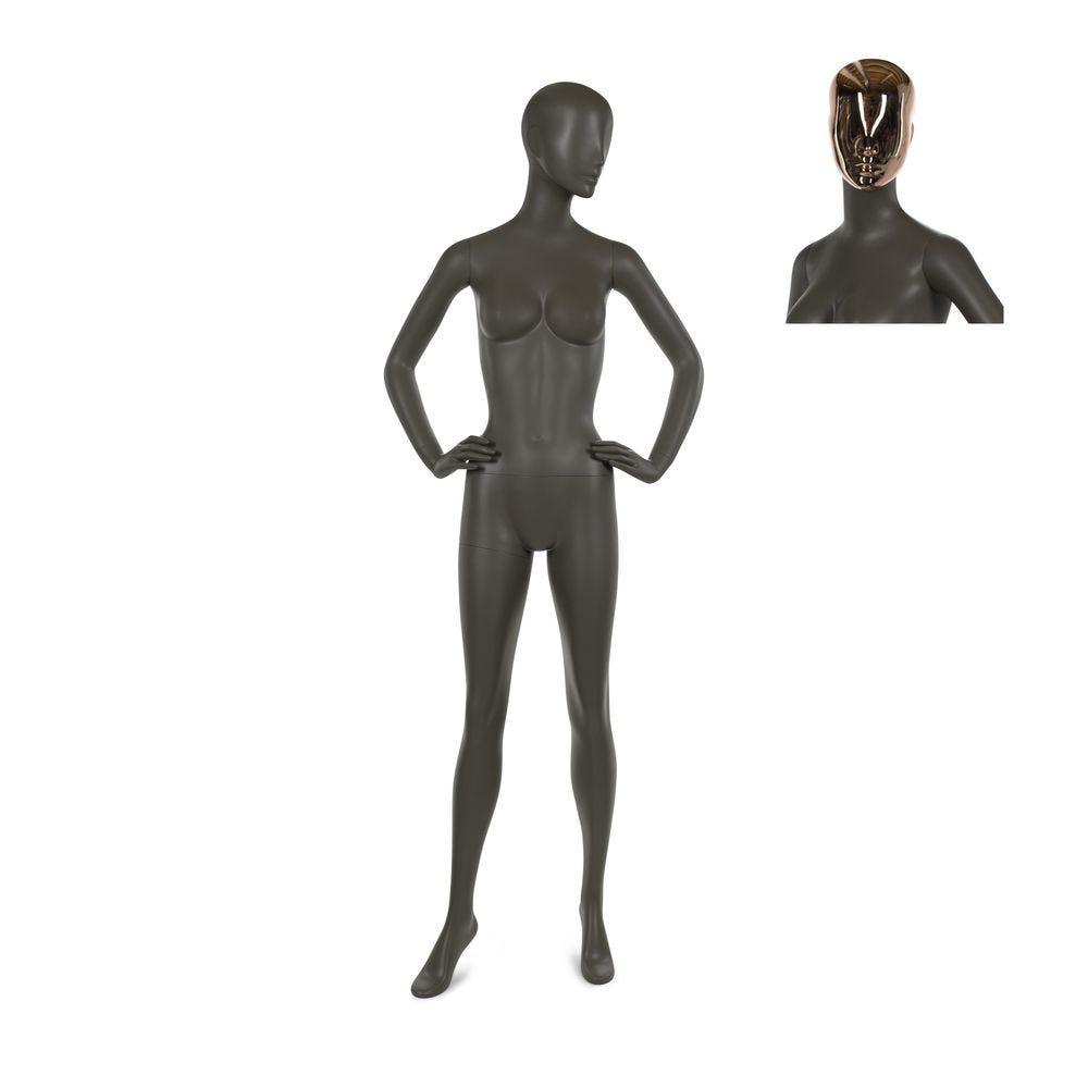 Mannequin femme qualité résine polyester café doré mat incl. 2 masques mod. A (photo)