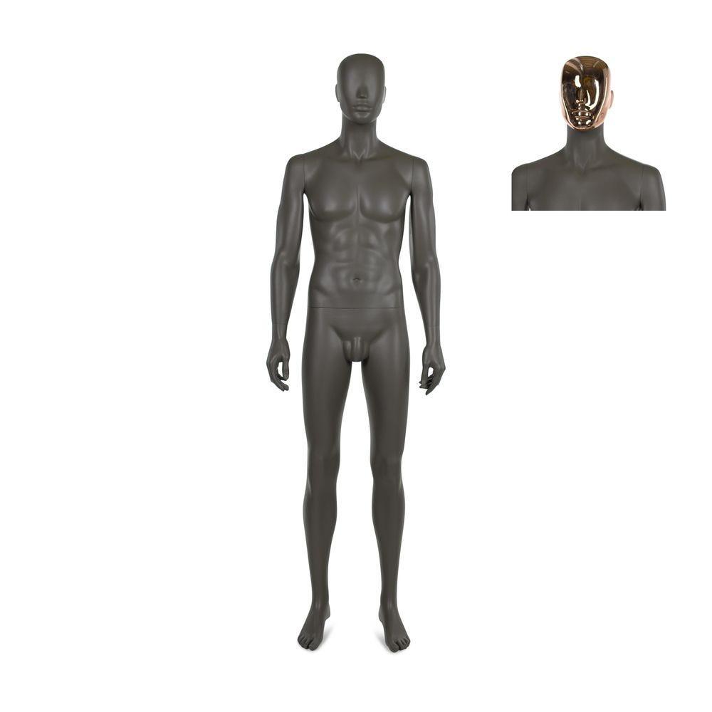 Mannequin homme, qualité résine polyester, café doré mat, incl. 2 masques (photo)