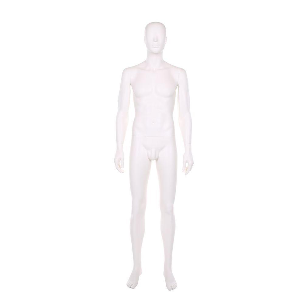 Mannequin homme, polyester, blanc ivoire, incl. 1 masque + base blanc et tiges (photo)