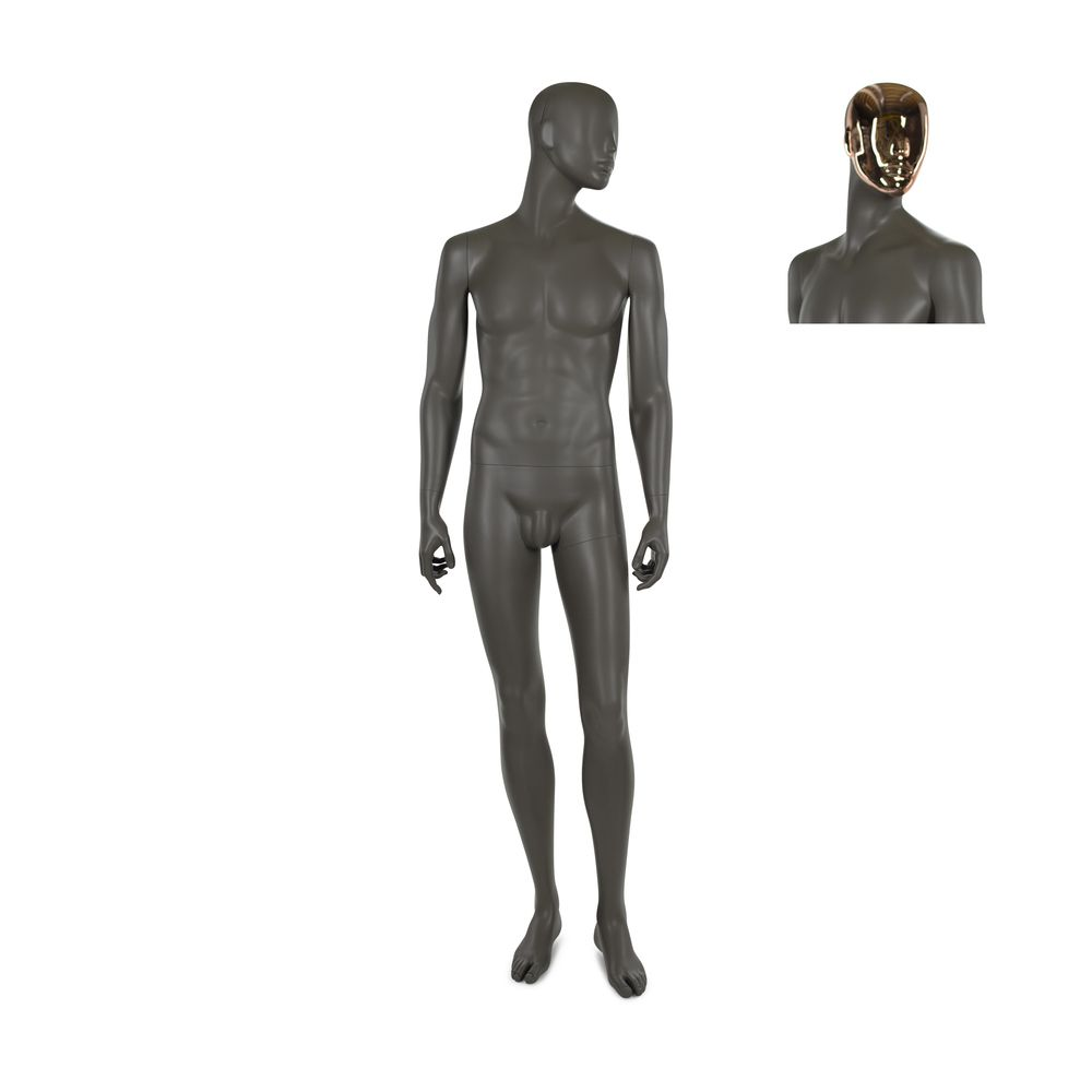 Mannequin homme, résine polyester, café doré mat, incl. 2 masques (photo)