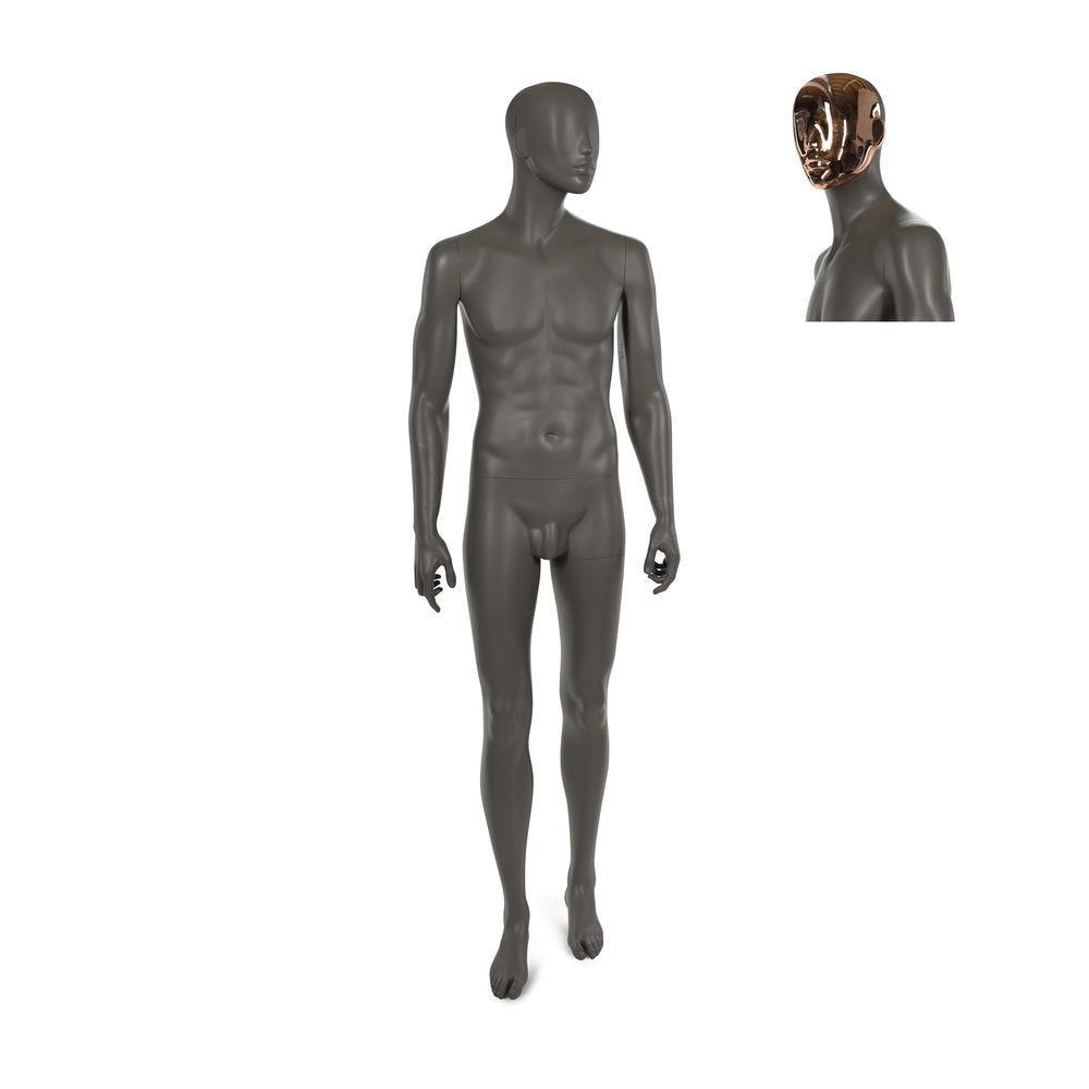 Mannequin homme, qualité résine polyester, café doré mat, avec 2 masques (photo)
