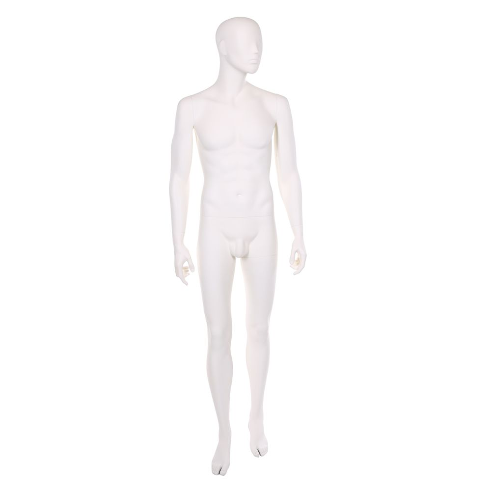 Mannequin homme, résine polyester, blanc ivoire, 1 masque + base blanc et tiges (photo)