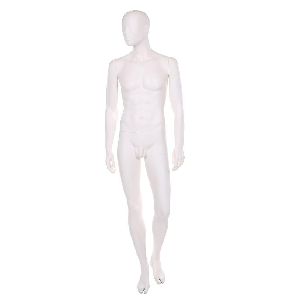 Mannequin homme, polyester, blanc ivoire, avec 1 masque + base blanc et tiges (photo)