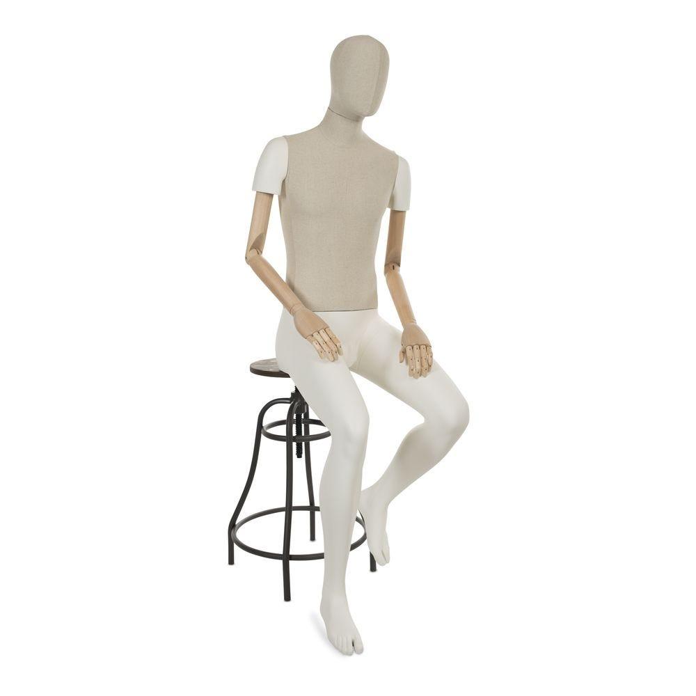 Mannequin homme abstrait assis, partie en tissu & partie en polyester blanc (photo)