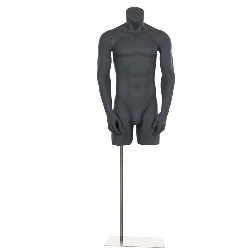 Buste homme sans tête, avec bras écartés, frp, gris graphite, incl. Socle