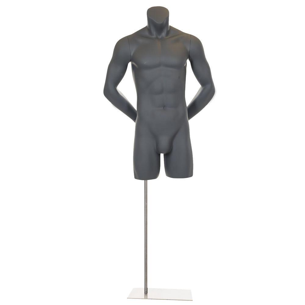 Buste homme sans tête, avec bras pliés, frp, gris graphite, incl. Socle