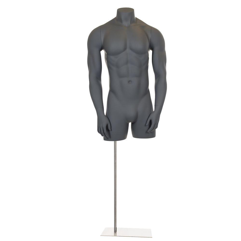 Buste homme sans tête, avec bras raides, frp, gris graphite, incl. Socle
