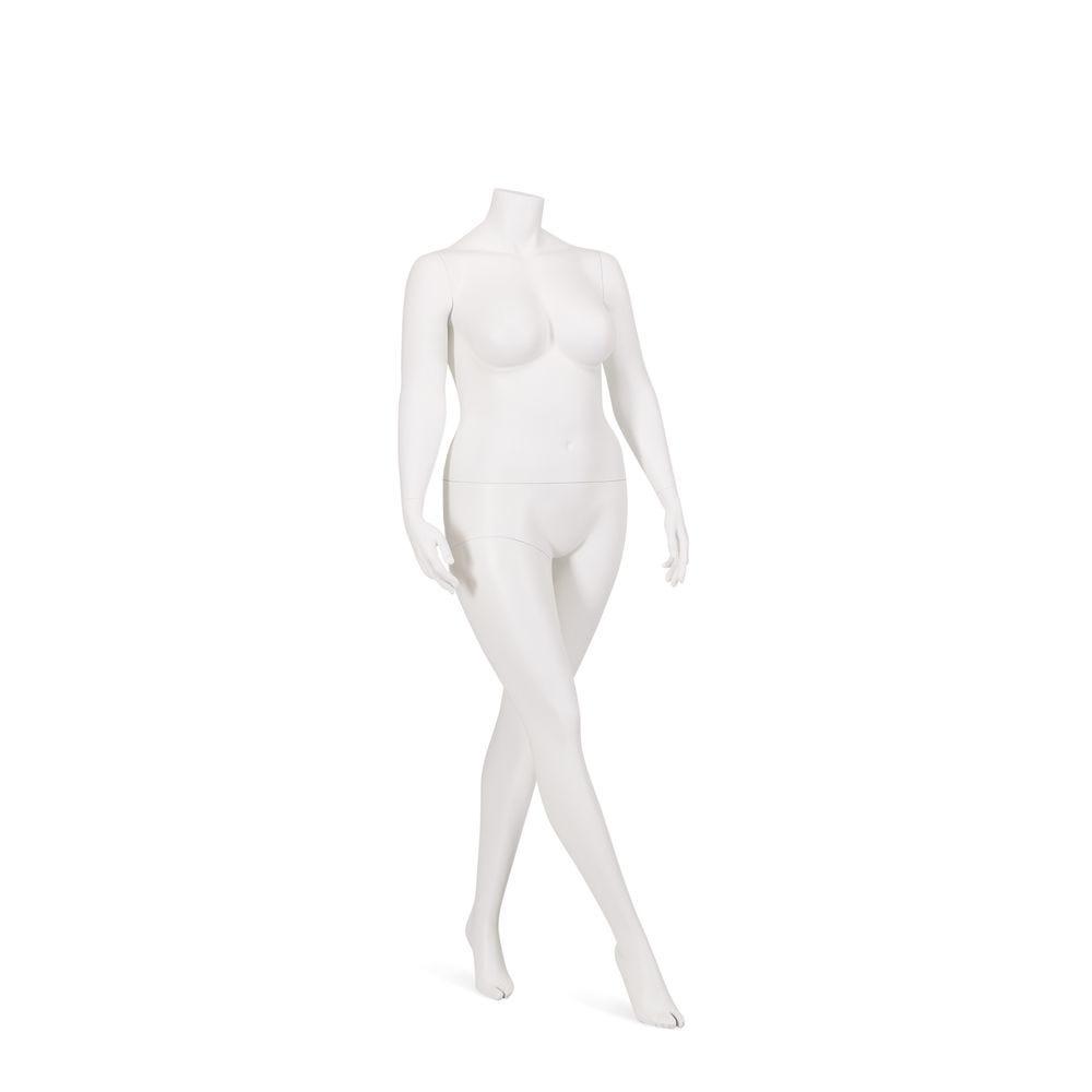 Mannequin femme, grande taille, sans tête, couleur blanc, incl. Socle et tiges (photo)