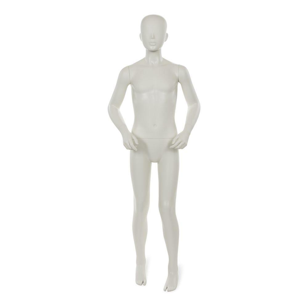 Mannequin garçon, 12 ans, tête abstraite, blanc gris mat, incl. Socle et tiges (photo)