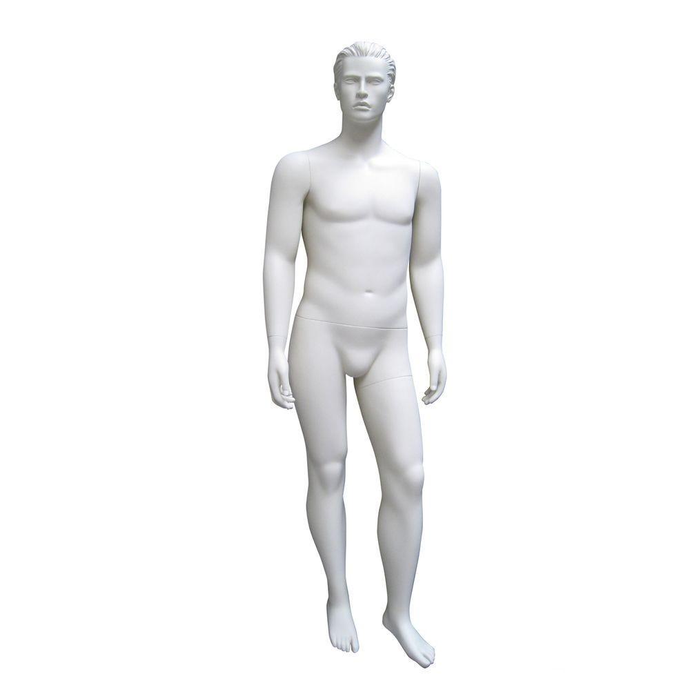 Mannequin homme, cheveux sculptés, xl, blanc mat, incl. Socle et tiges pos.1 (photo)