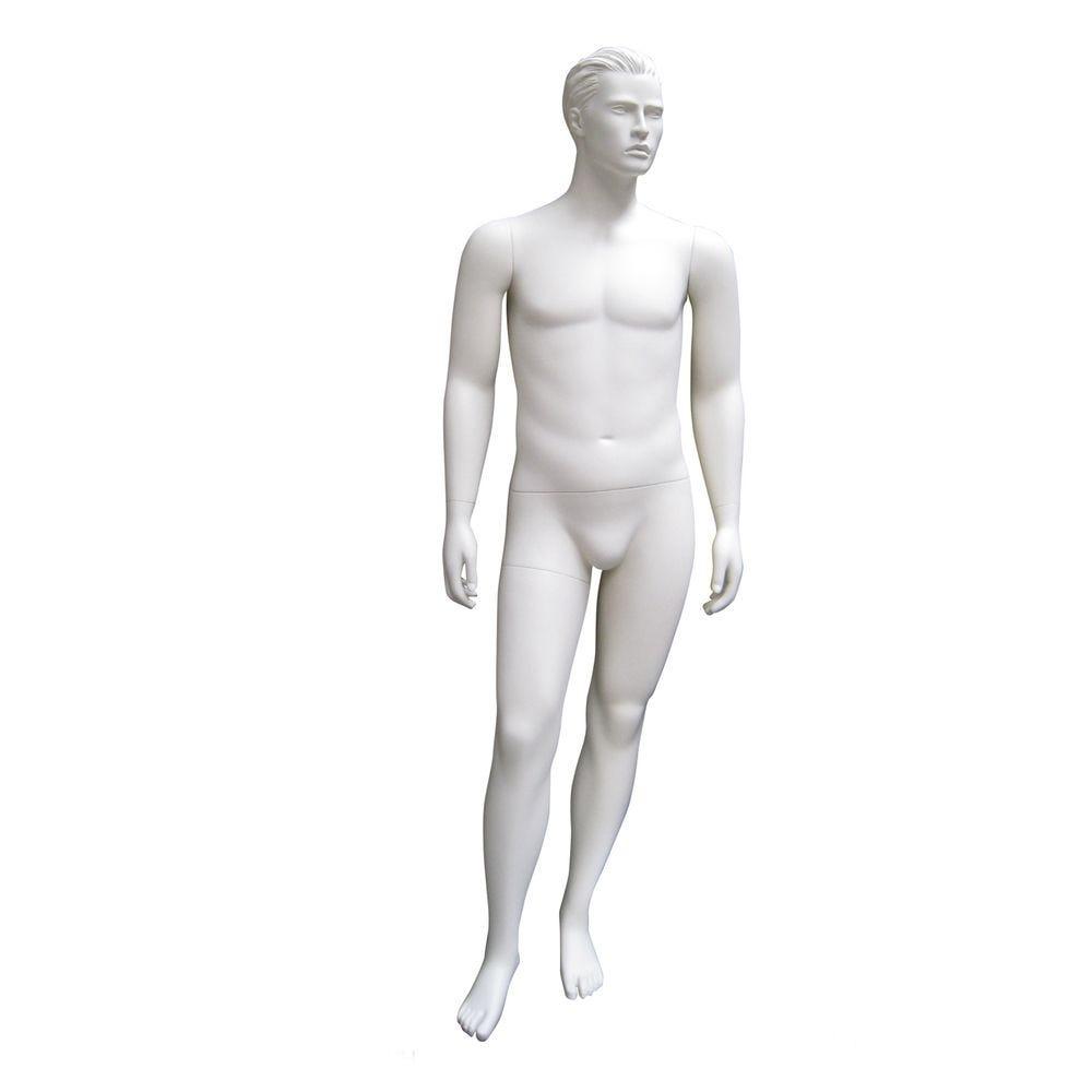 Mannequin homme, cheveux sculptés, xl, blanc mat, incl. Socle et tiges pos.2 (photo)