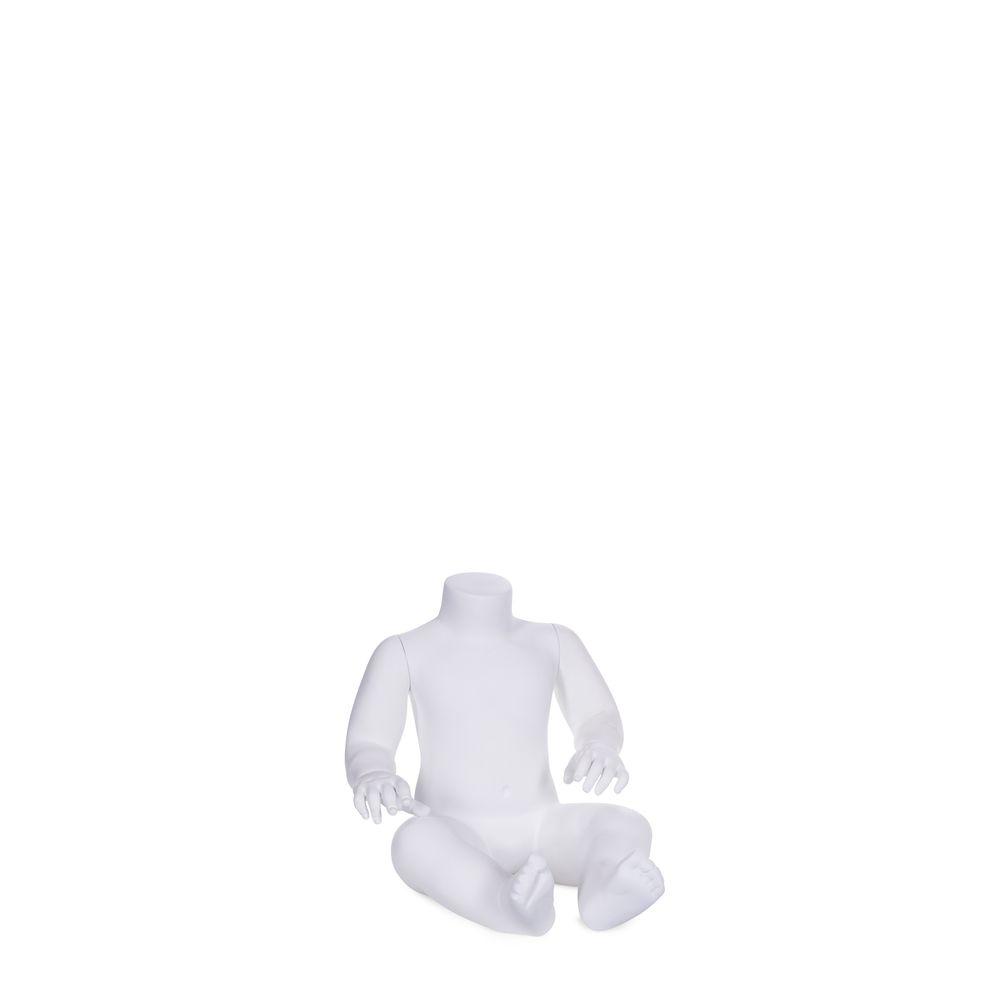 Mannequin enfant sans tête, unisex 1 - 3 mois, blanc mat, position assis (photo)