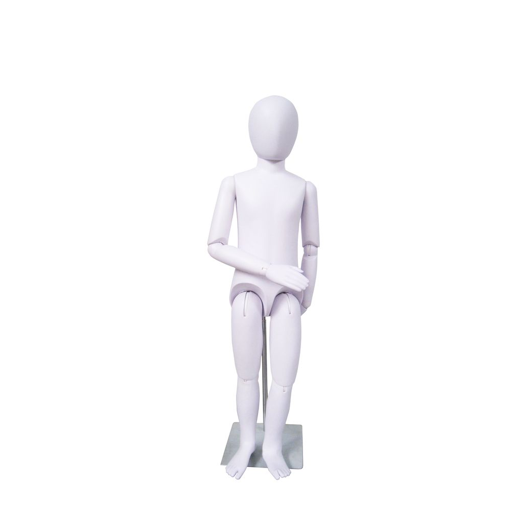 Mannequin enfant flexible abstraite, 6-8 ans, pvc blanc, incl. Socle et fixation (photo)