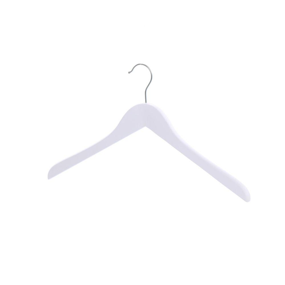 Cintre sans encoches, largeur 41 cm, crochet en nickel, blanc mat (photo)