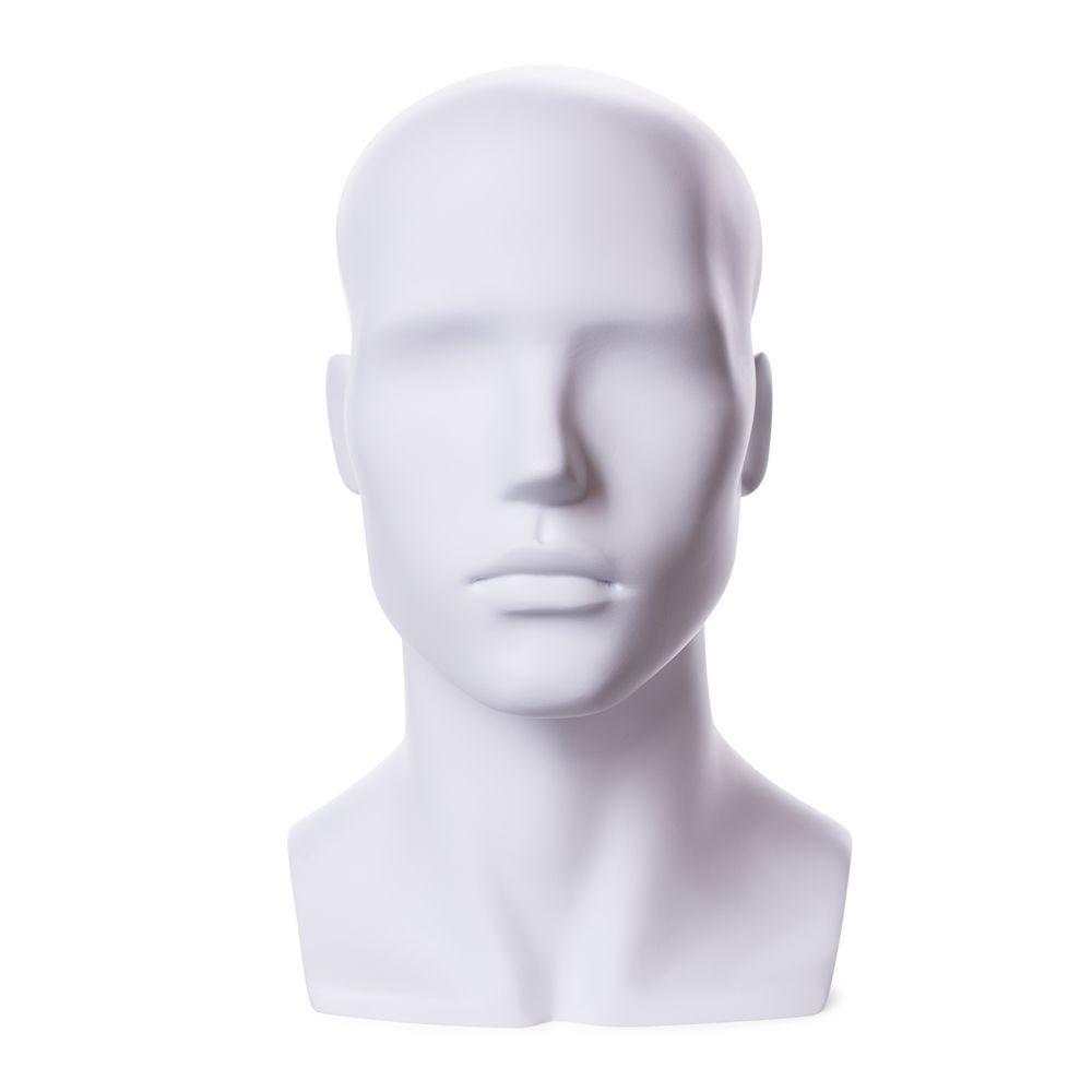 Tête homme abstraite,frp, blanc mat (photo)