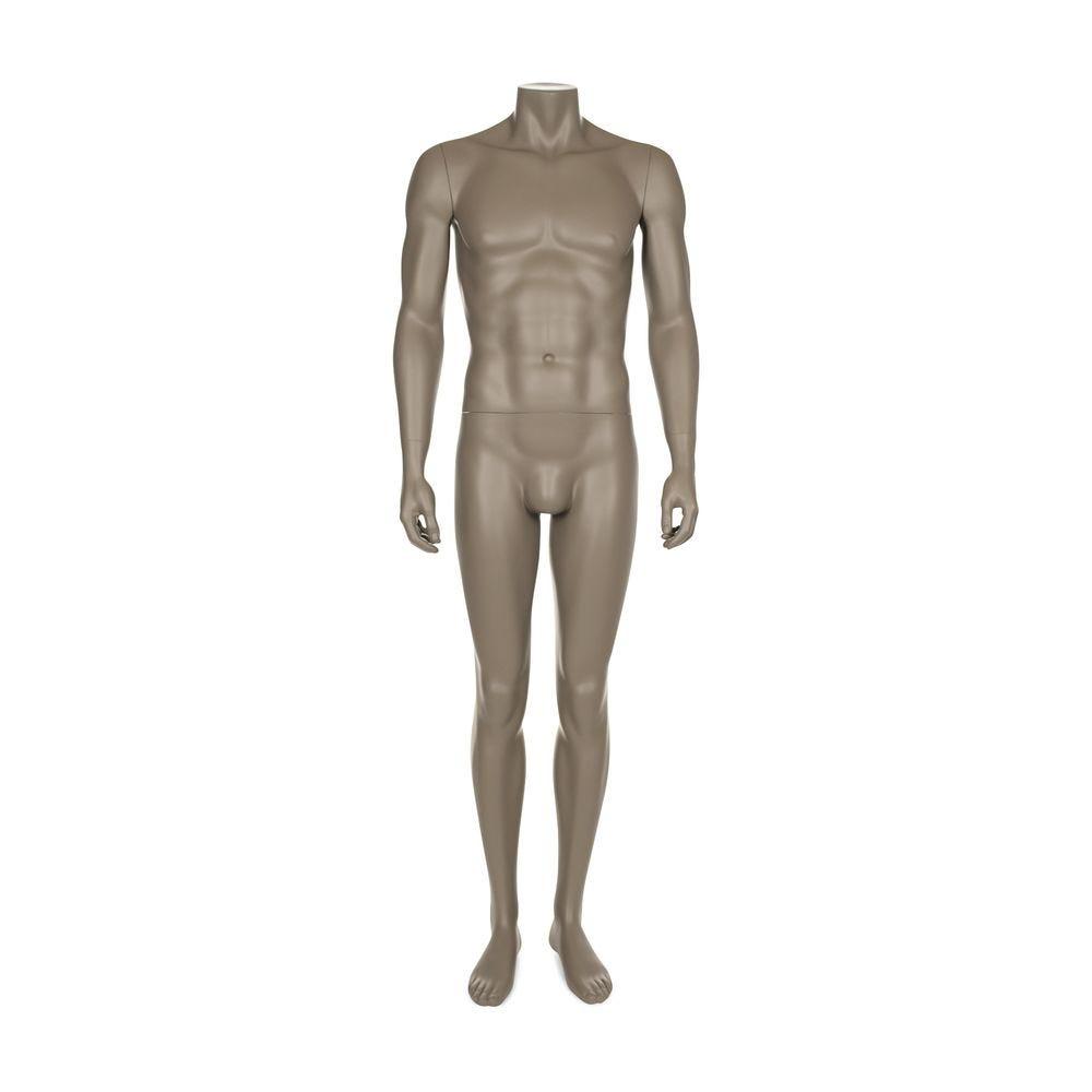 Mannequin homme sans tête, frp, couleur gris beige, incl. Socle et tiges (photo)