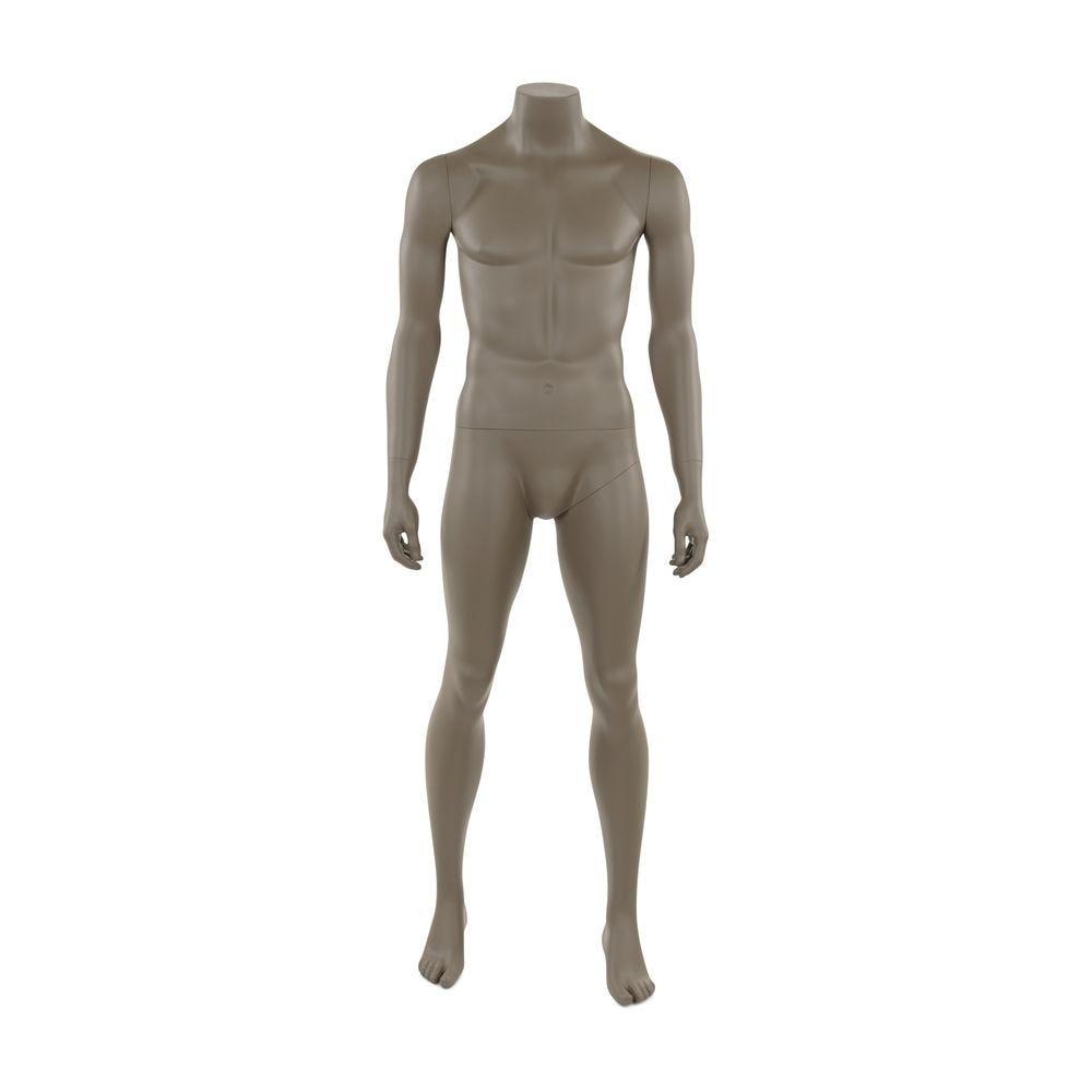 Mannequin homme sans tête, frp, couleur gris beige mat, incl. Socle et tiges (photo)