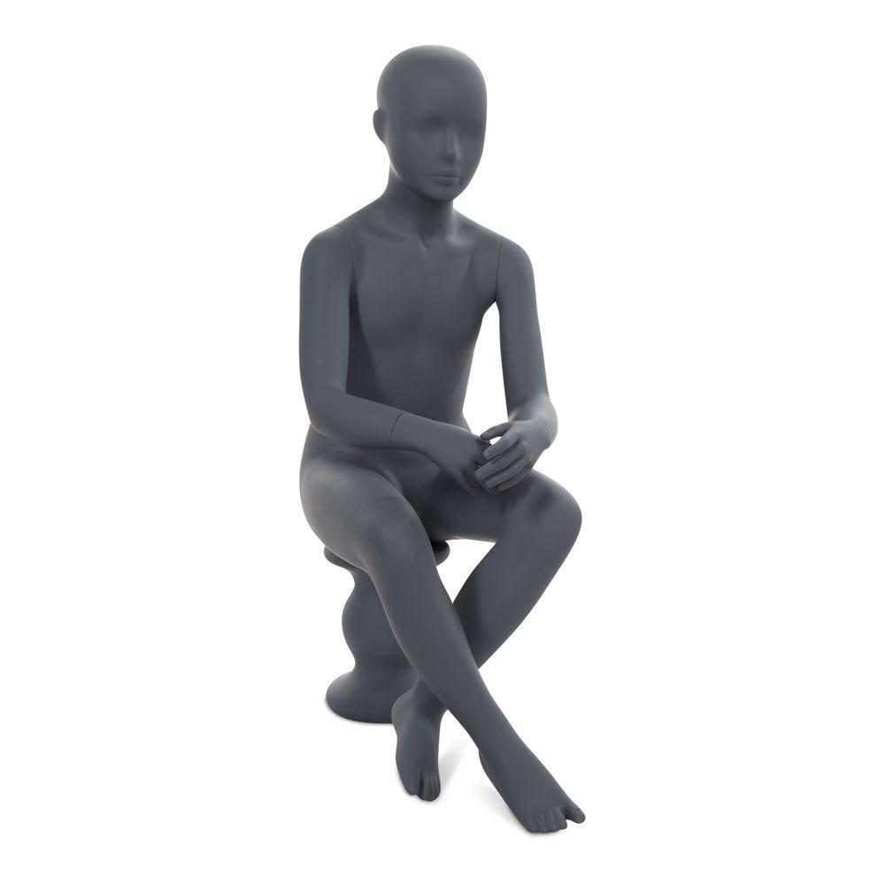 Mannequin enfant abstrait, couleur gris graphite, position assise (photo)
