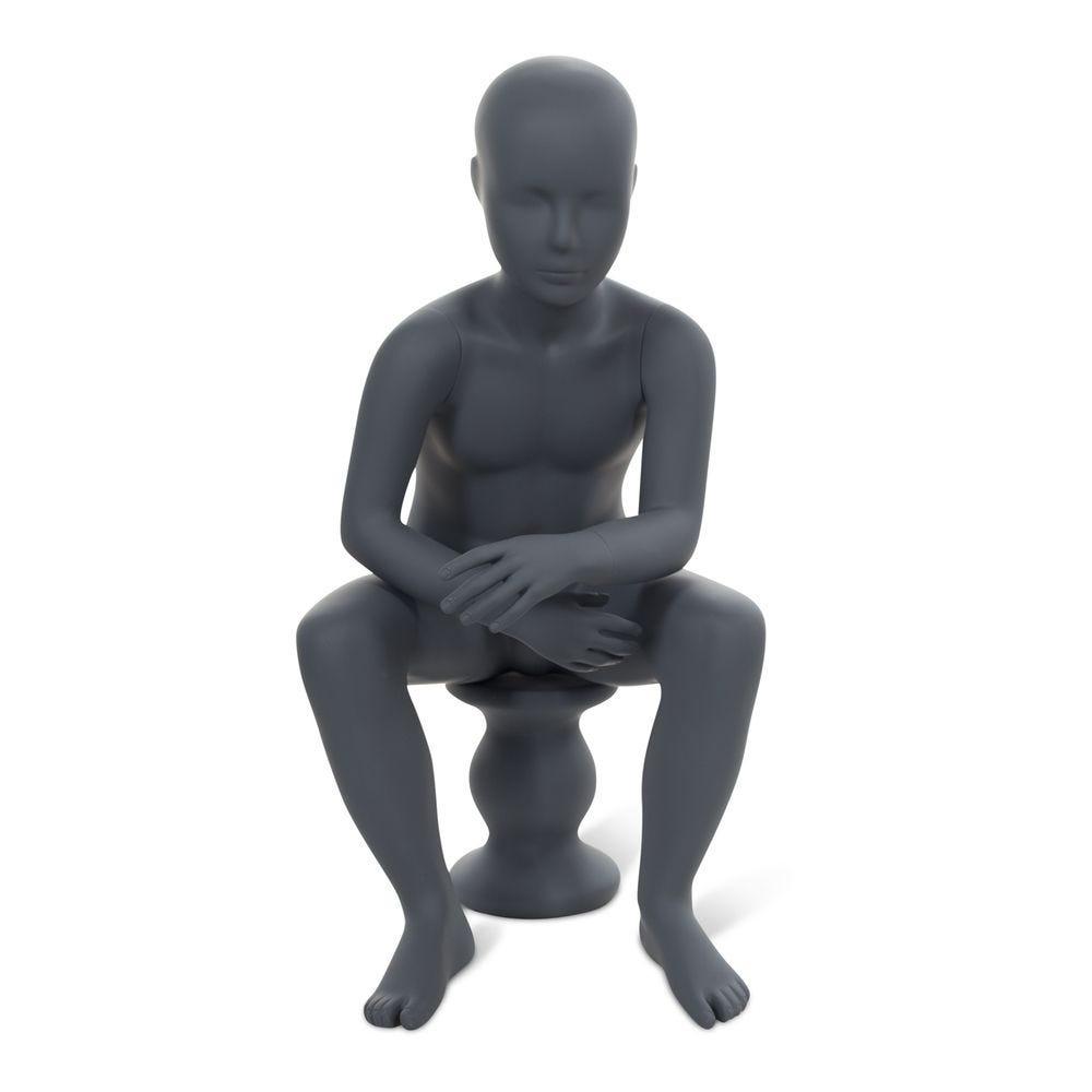 Mannequin enfant tête abstraite, couleur gris graphite, position assise (photo)