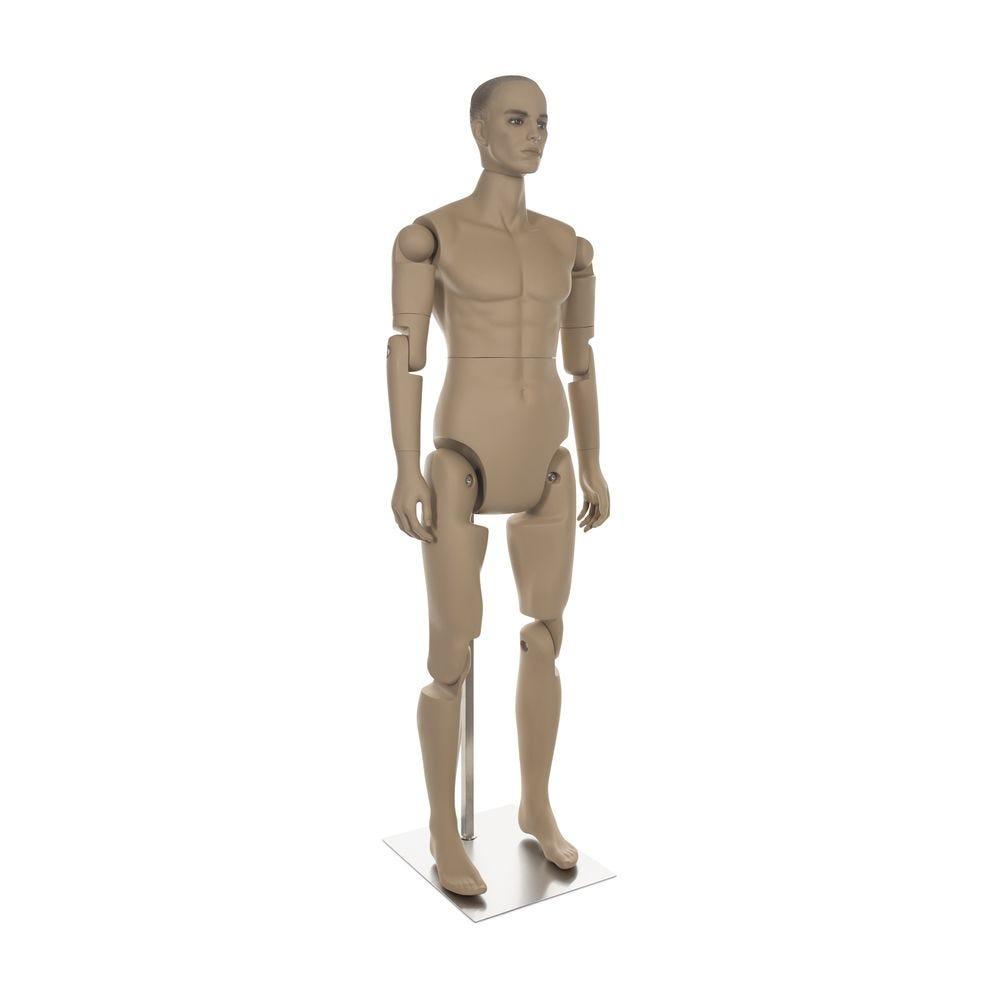 Mannequin homme réaliste, amovible, couleur chair, incl. Socle et tiges pos.1 (photo)