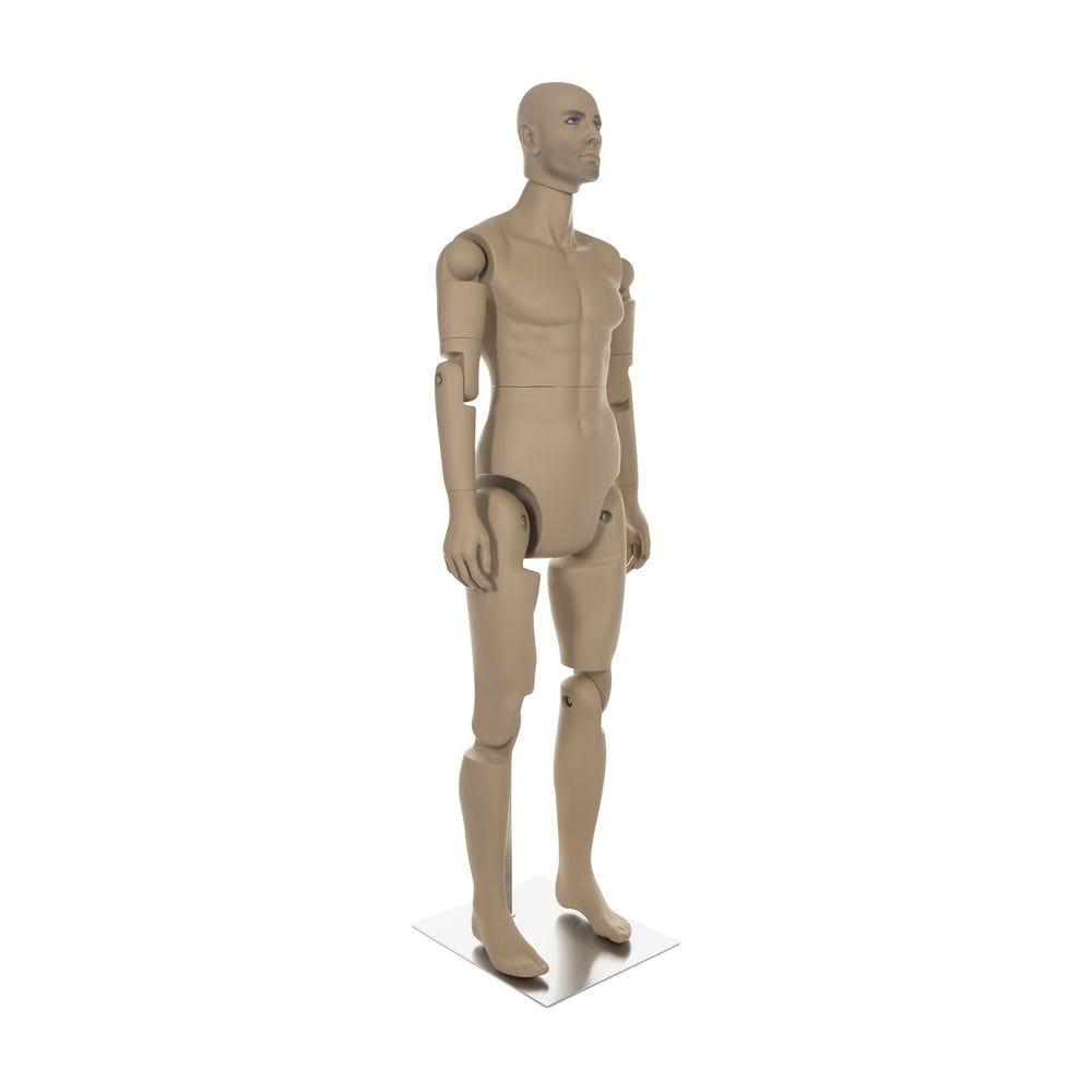 Mannequin homme réaliste, amovible, couleur chair, incl. Socle et tiges pos.2 (photo)