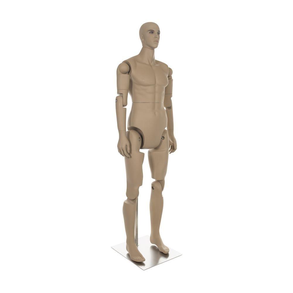 Mannequin homme réaliste, amovible, couleur chair, incl. Socle et tiges pos.3 (photo)